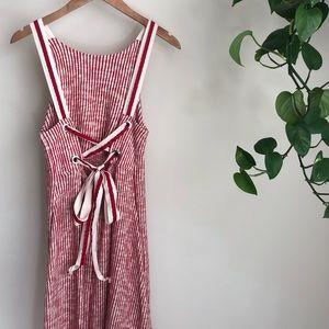 ZARA red/white lace up striped midi dress❤️